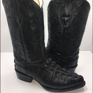 Men's cowboy boot alligator embossed leather print